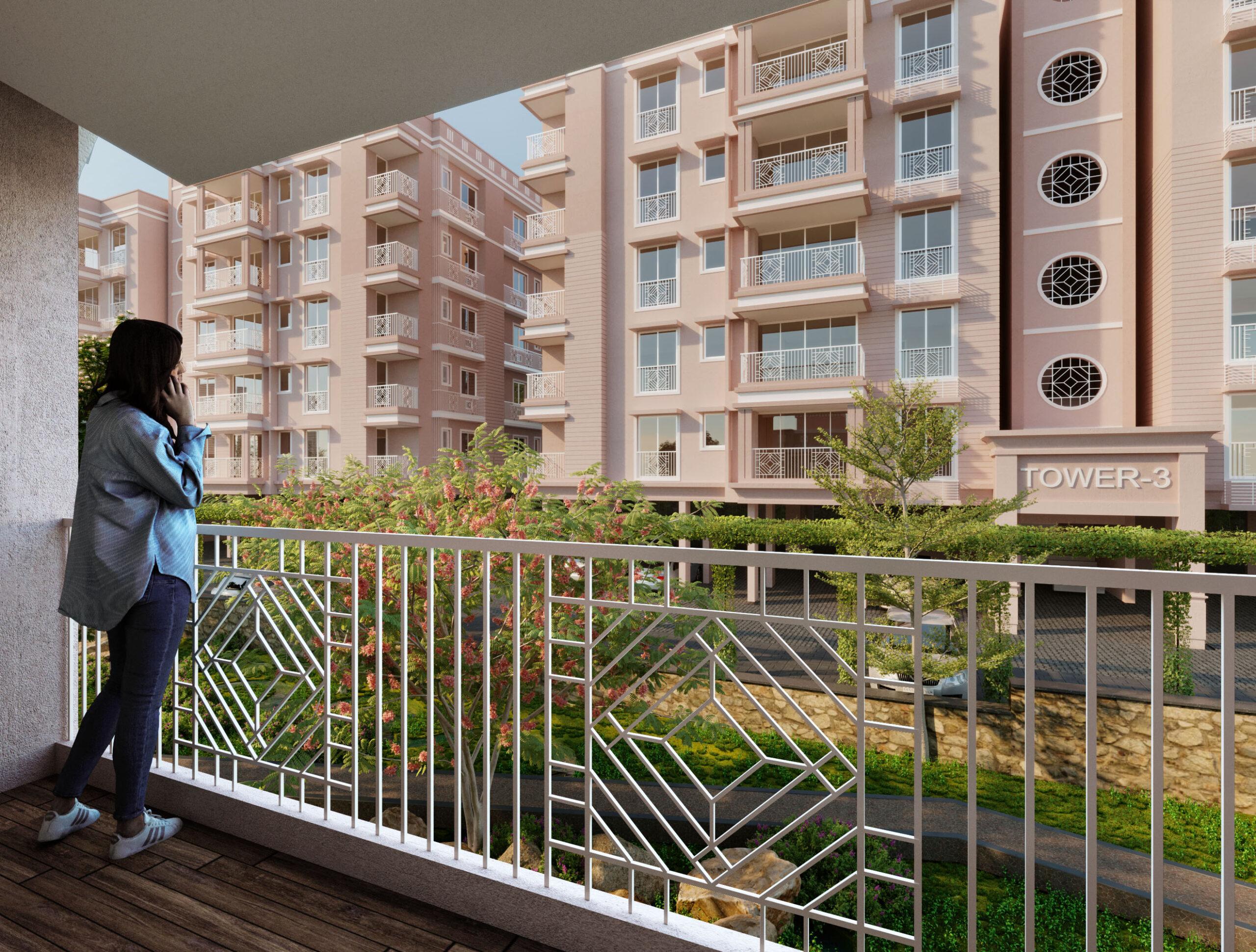 group housing 3d rendering exterior balcony
