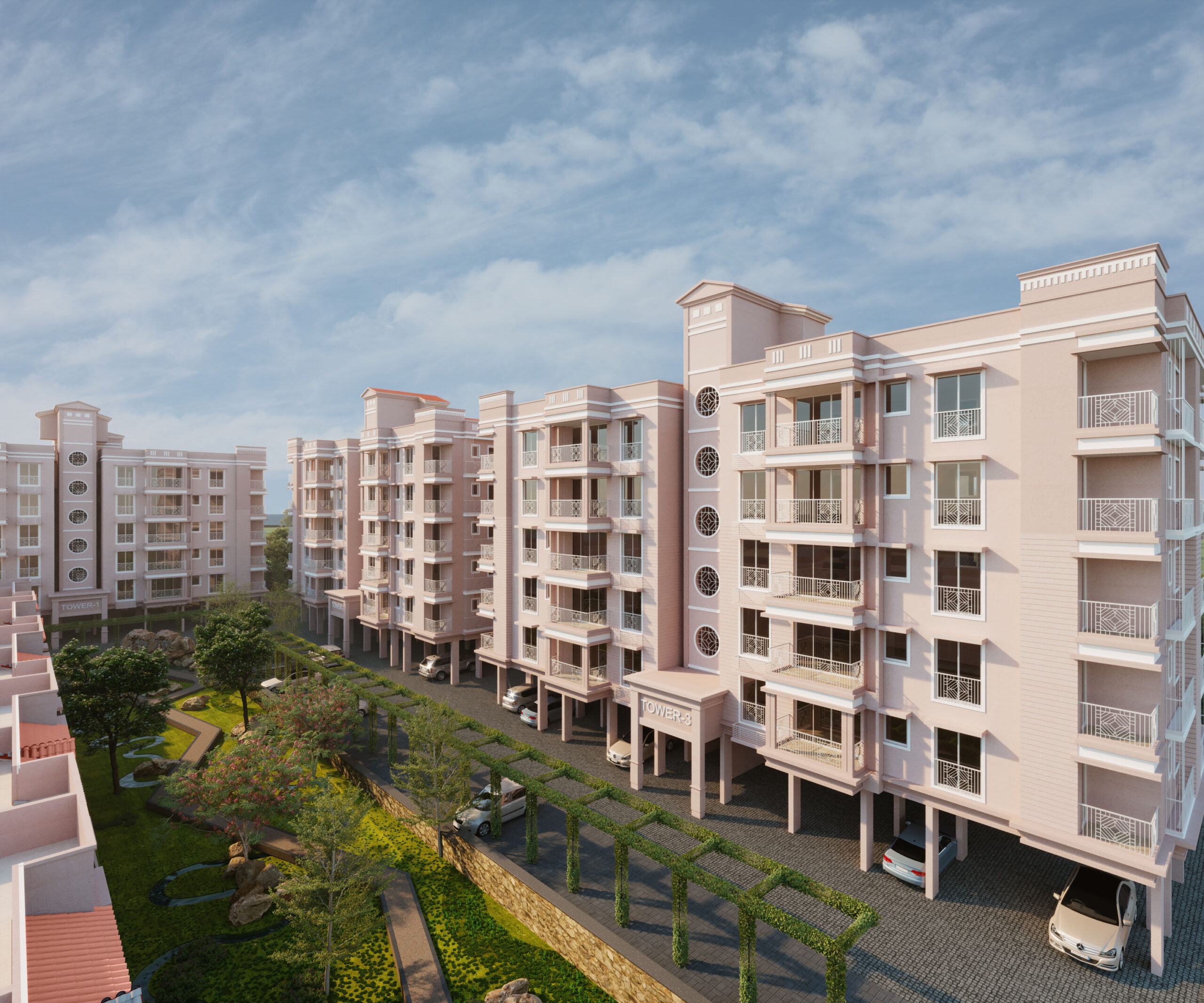 group housing apartments 3d rendering exterior