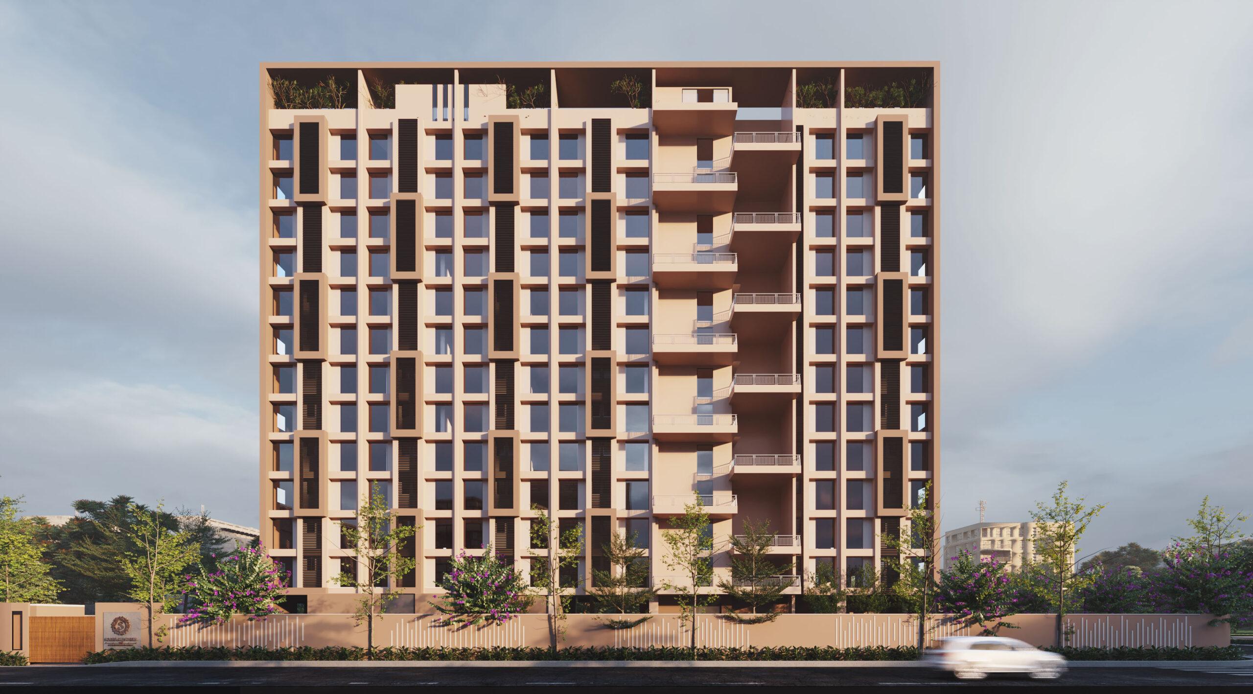 exterior rendering multi storey building front view
