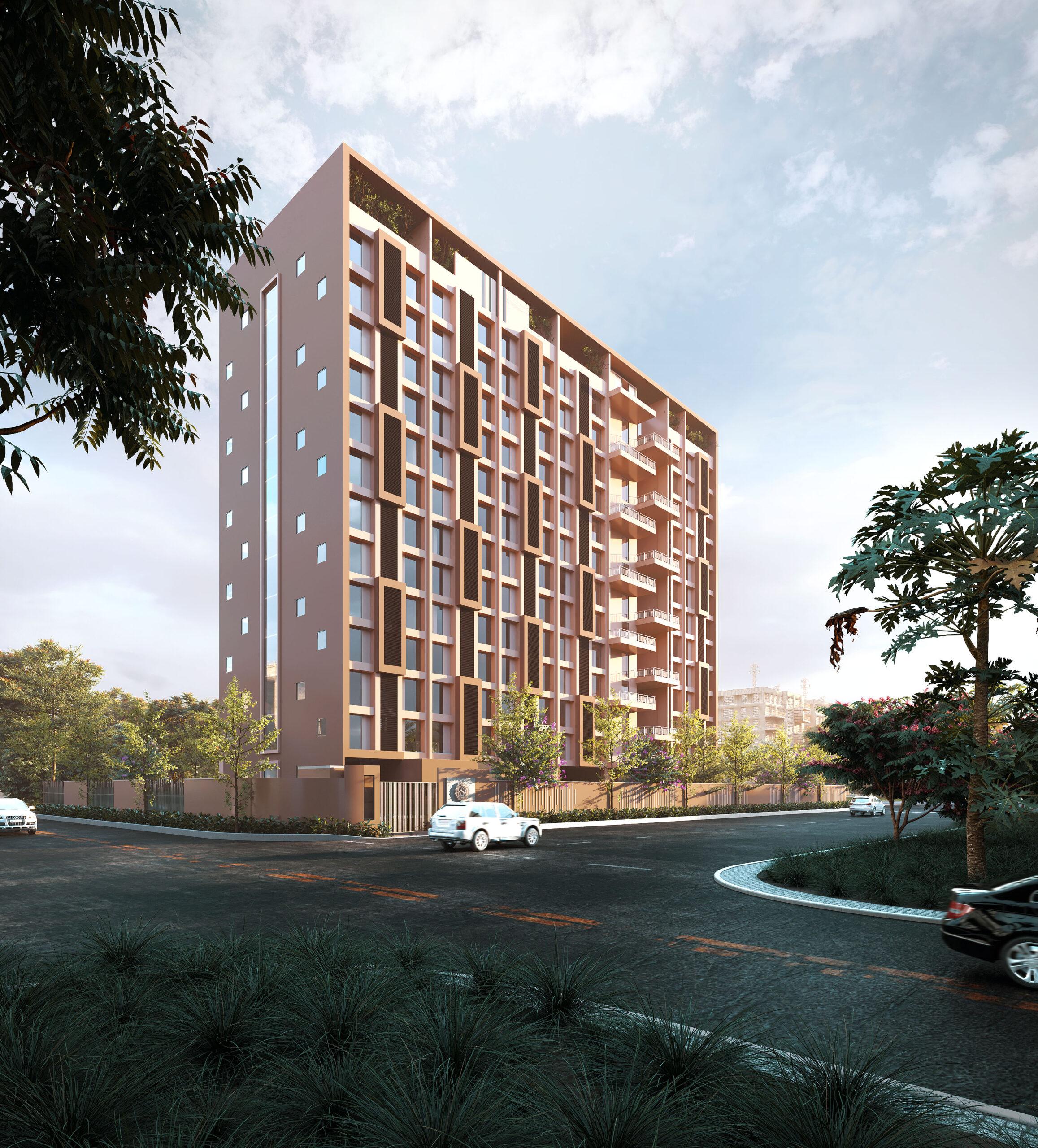 multi storey building exterior rendering
