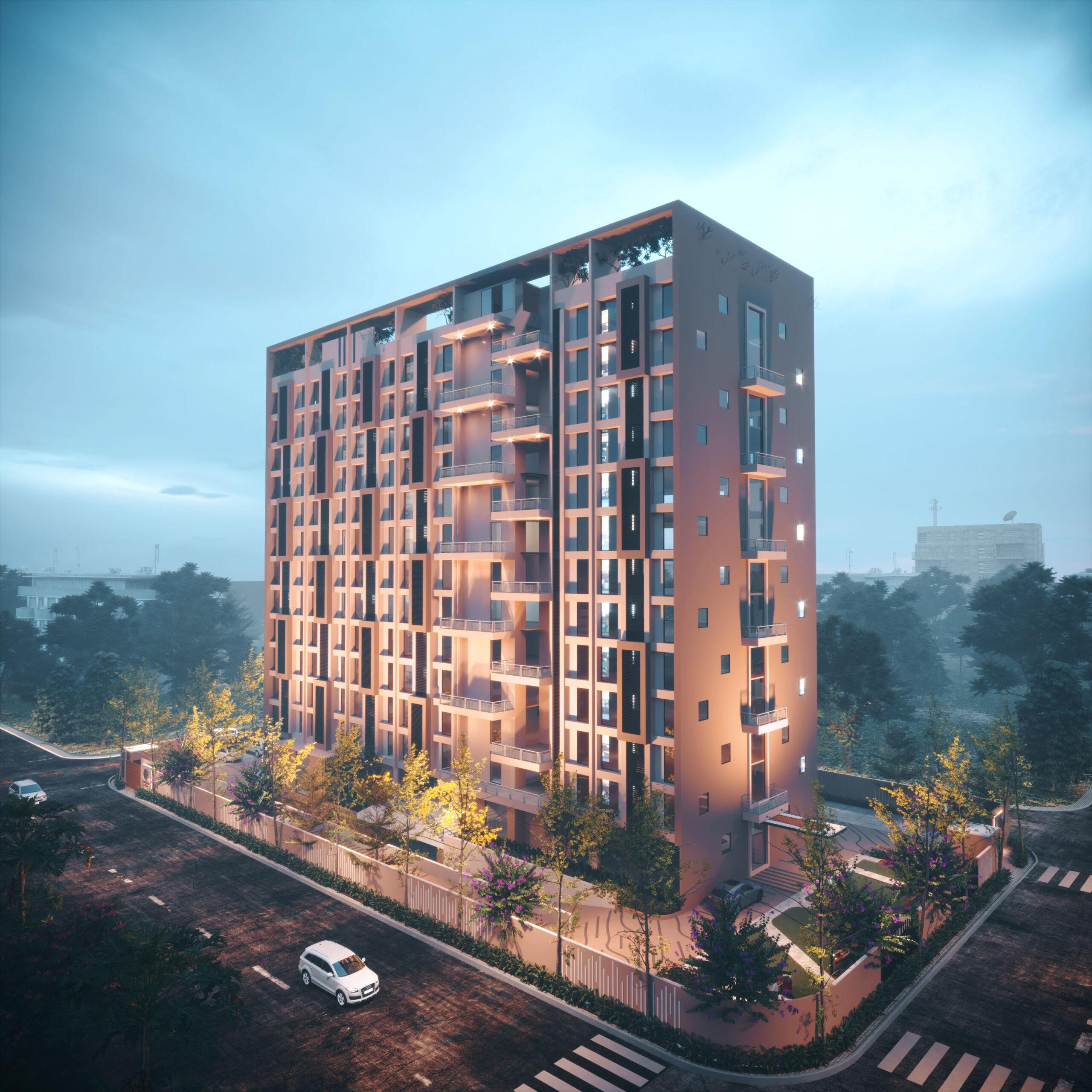 best exterior rendering multi story building night view