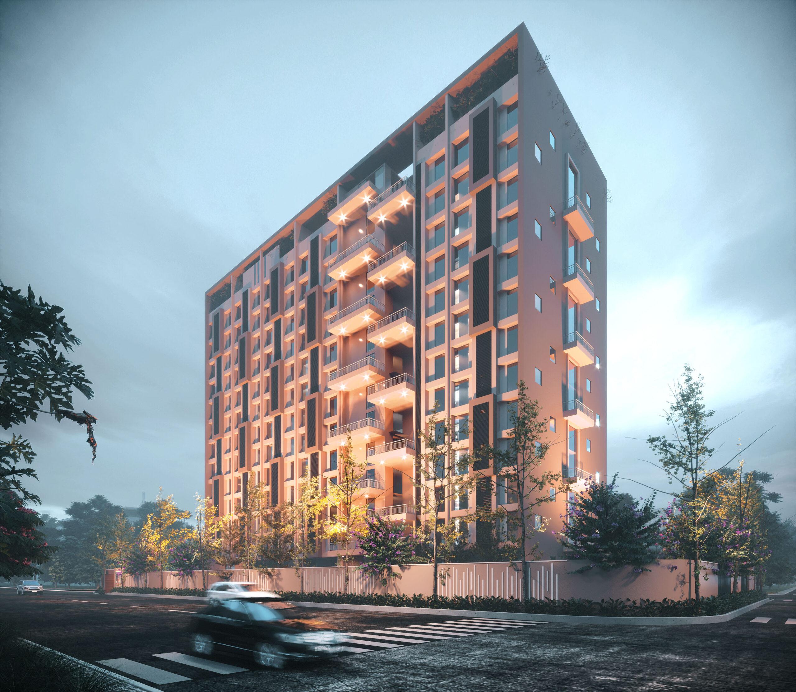 multi storey building exterior rendering night view