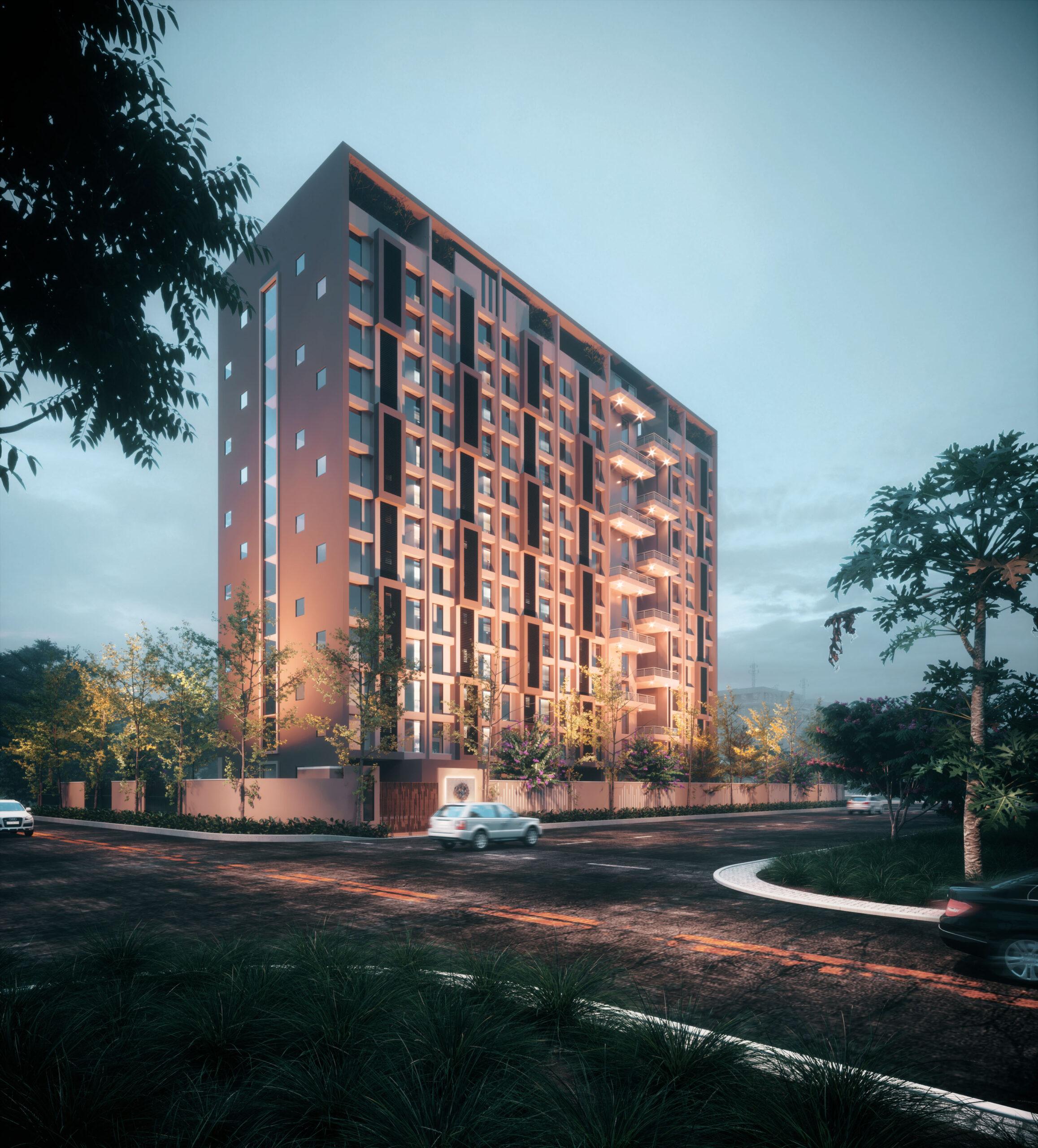 night view exterior rendering multi storey building