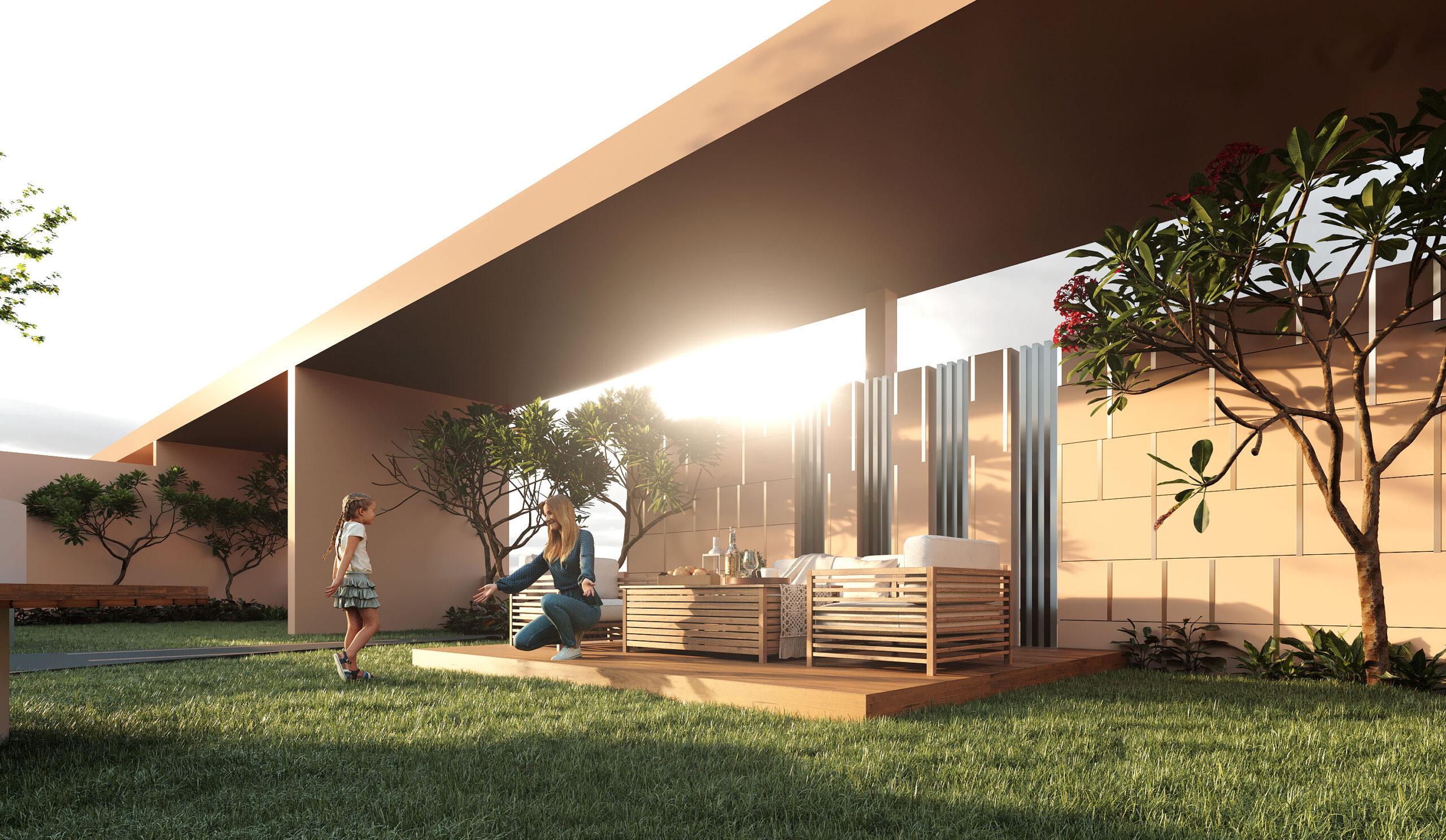 3d exterior rendering garden