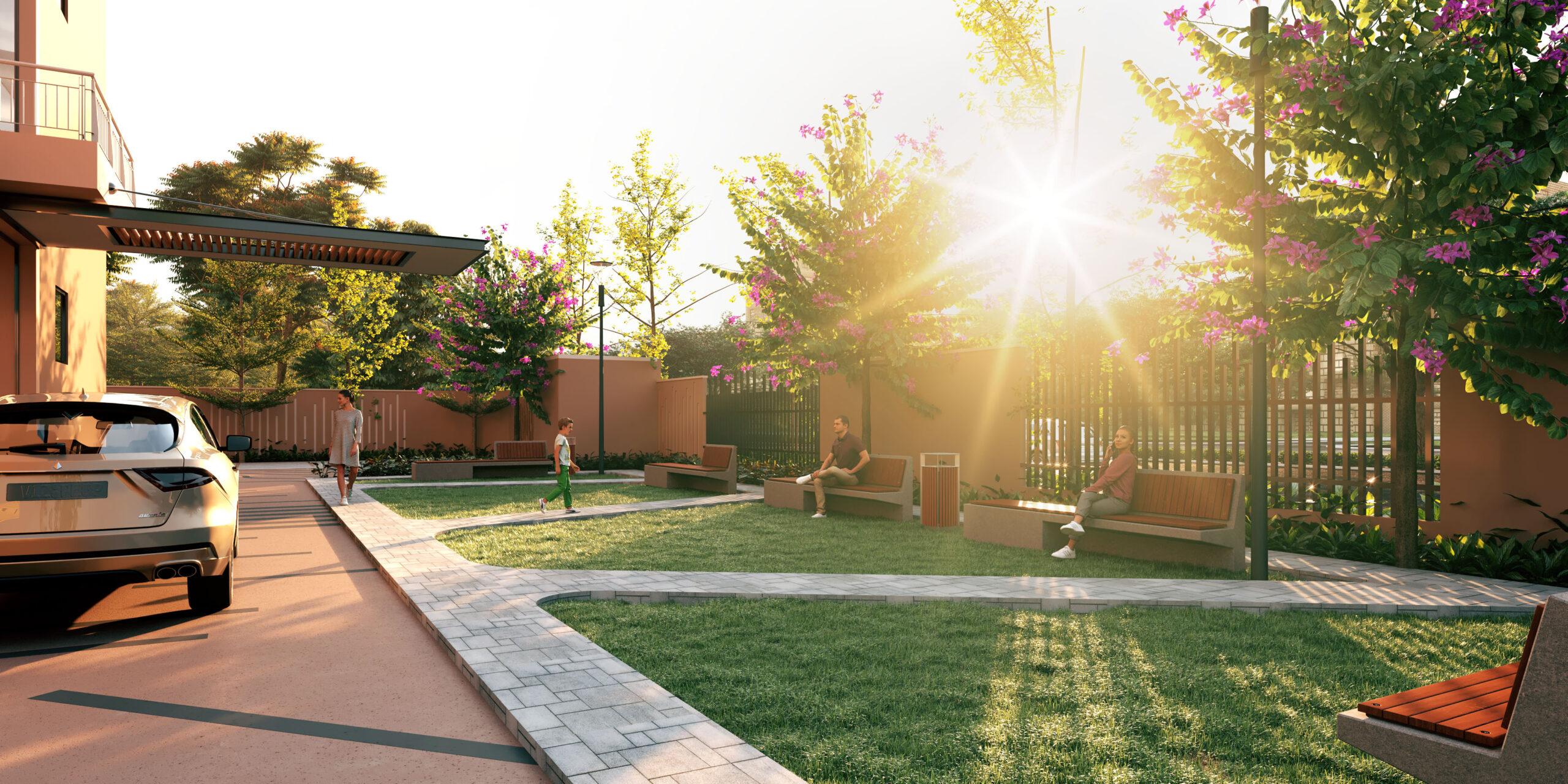 exterior 3d rendering home garden